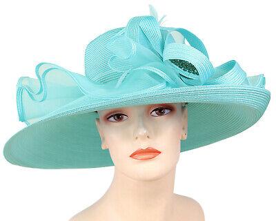 Women's Straw Church Derby Hats - Blue, Brown, Green, Purple, Red,  White - 4650 White Church Hats