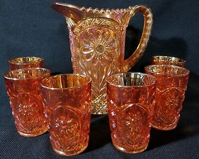 Imperial Glass  Marigold Carnival Water Pitcher and 6 Tumblers