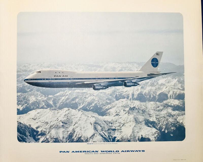Vtg 1964 Pan American World Airways Pan Am Boeing 747 Airplane Cascade Range
