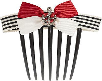 Sailor Streifen ELODIE Anchor ANKER BOW Schleifen Haarkamm Hair Comb Rockabilly ()
