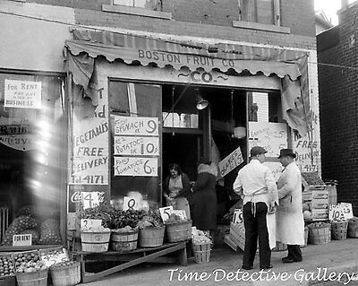 Boston Fruit Company Store, Norwich, Connecticut - 1940 - Vintage Photo Print - Party Store Boston