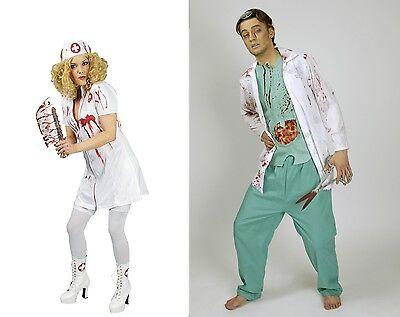 blutiger Chirurg o. Krankenschwester Damen Herren Kostüm Halloween Zombie NEU