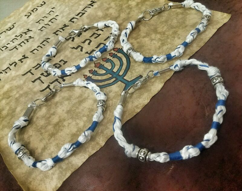 "4 Total! TZITZIT BRACELET SIZE 8 1/4"" TZIT TZIT Torah tassels DEUT 6:8 YHWH knot"