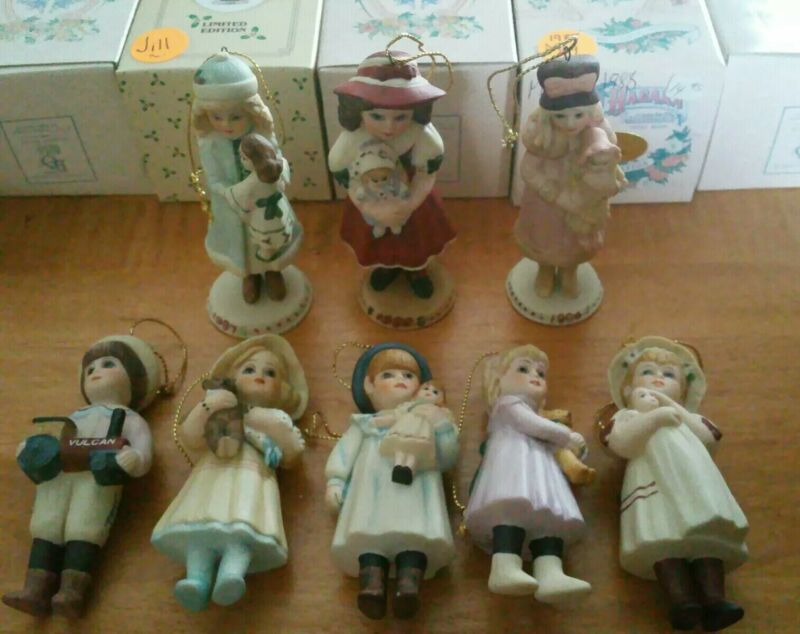 Lot of 8 Jan Hagar LE Bisque Doll Ornaments w/Boxes! Parry Cara Meg Holly #2