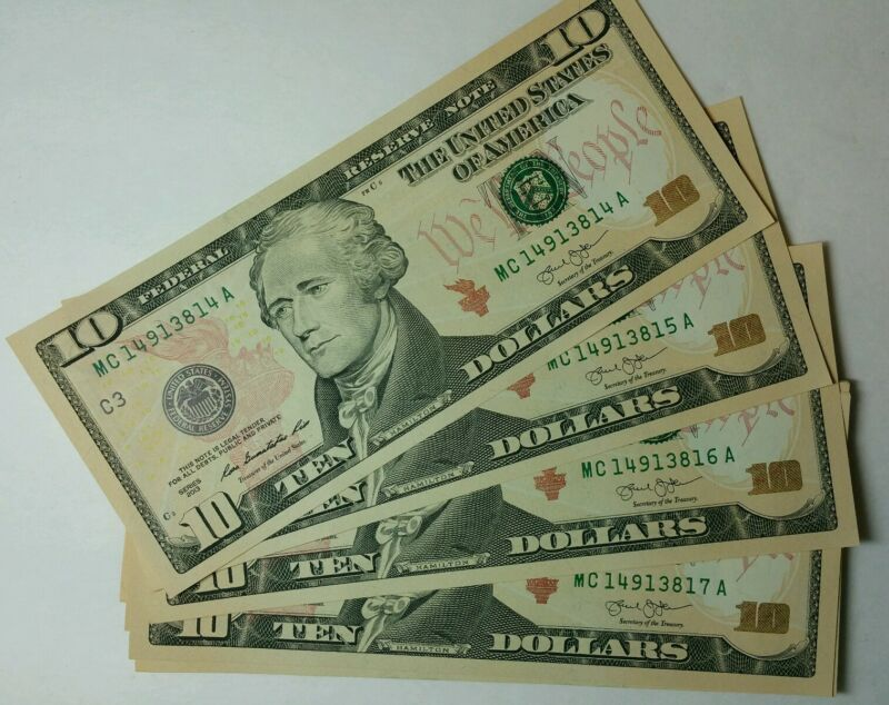 ONE New Uncirculated $10 Dollar Bills BEP Pack Sequential Serial Series 2013