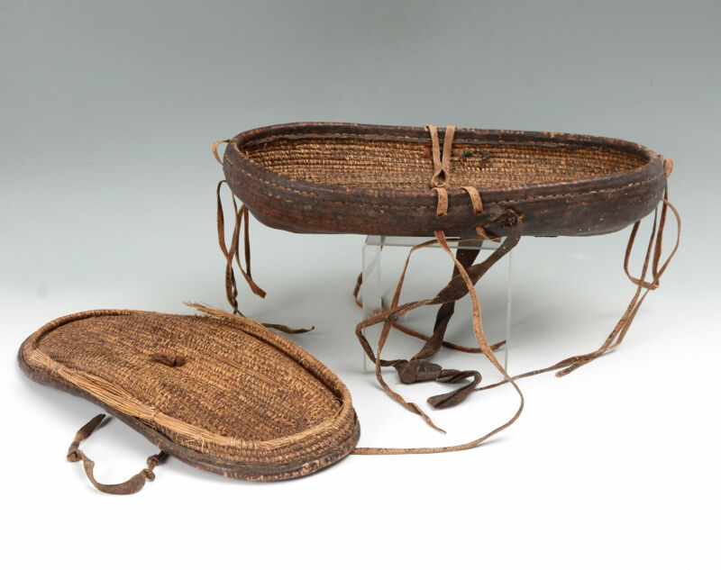 19TH CENTURY ANTIQUE HAND WOVEN ELONGATED LEATHER BASKET W/ TOP/LID