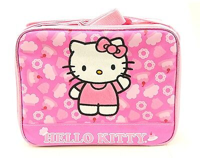 Hello Kitty Pink Cake Girls Kids Lunch Box Tote Bag Snack Bag Insulated Pink ()