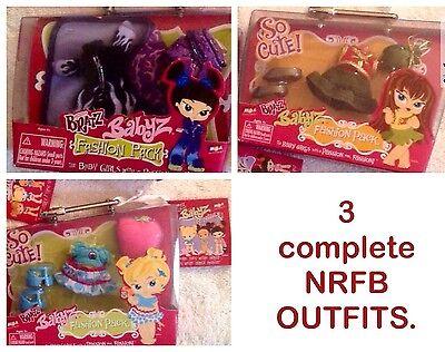 Bratz Babyz - RETIRED- Fashion Packs-- 3 Sets- NRFB/complete / NICE!