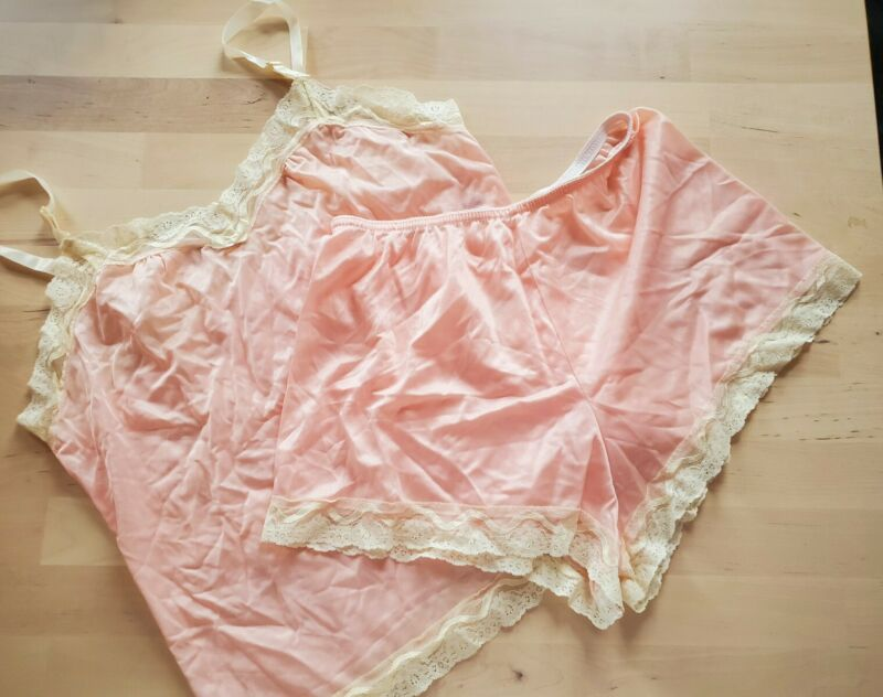 Vintage 1980s Undercover Wear Nylon Sissy Cami Panties Set Large Lace Pink