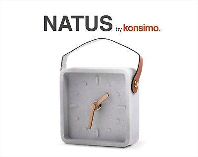 KONSIMO - NATUS Tischuhr Uhr Tisch modern Deko Design Steingut Leder NEU!! TOP!!