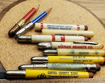8 ADVERTISING BULLET PENCILS VARIOUS BUSINESS & PRODUCTS DENS-OIL LUBRICANTS VTG