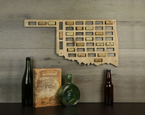 Wine Cork Traps State of Oklahoma Wood Wine Cork Organizer Wall Decoration
