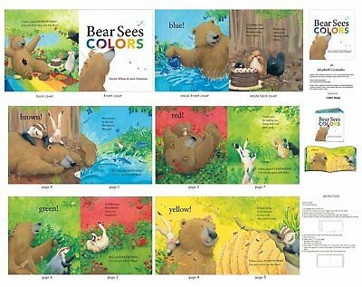 Bear Sees Colors Children's Soft-book Panel 100% Cotton Fabric by the Panel for sale  Charlotte