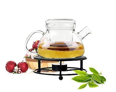Teekanne mit Teesieb und Metall-Stövchen Glaskanne Teekocher Teepot Teebereiter ()