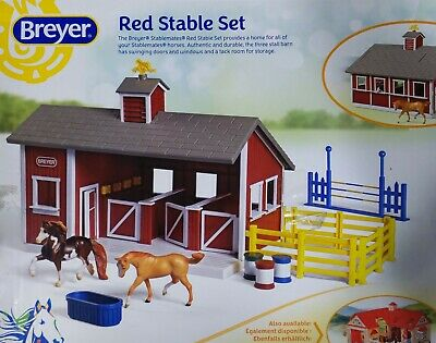 Breyer Stablemates Red Stable Set Complete Barn & 3 Horses EUC