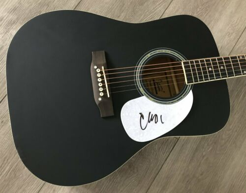 """CHRIS YOUNG SIGNED AUTOGRAPH BLACK 41"""" FULL SIZE ACOUSTIC GUITAR w/EXACT PROOF"""