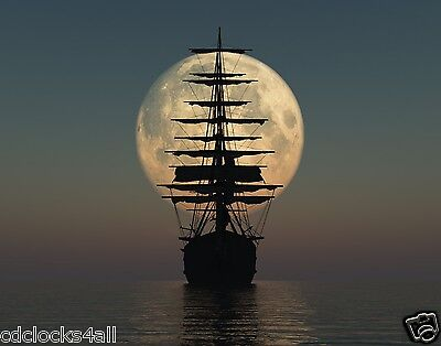 Old Pirate Ship By Moonlight 11 x 14 GLOSSY Photo Picture