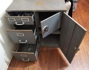Vintage Cole-Steel Filing Cabinet Locking Side Cabinet With Safe