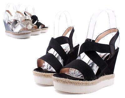 Black Color Platforms Wedges Strap Slip On Slingback Womens High Heels Size 10 New Black High Heel Slingback
