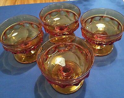 Set Of 4 Amber Glass Kings Crown Thumb Print Design Goblet/ Sherbert/ Dessert