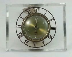 Vintage Mid-Century Clear Lucite Mantle Table Clock Electric ~Stamped Salem Co.