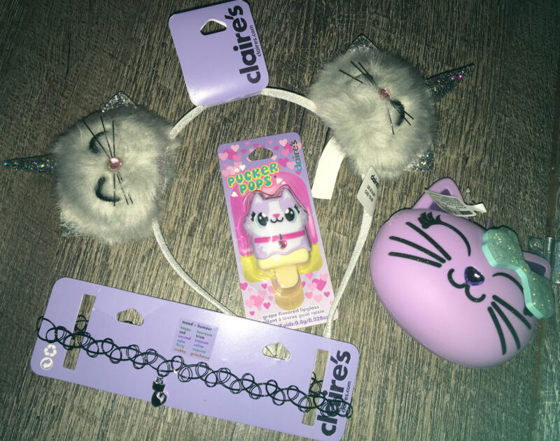 Claire's Mood Kitty Cat Necklace Headband Lipgloss Backpack Clip Coin Purse Lot