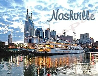TN - Nashville - Riverboat - Travel Souvenir Flexible Fridge Magnet
