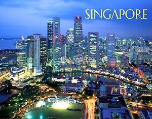 SINGAPORE (night) - Travel Souvenir Flexible Fridge Magnet