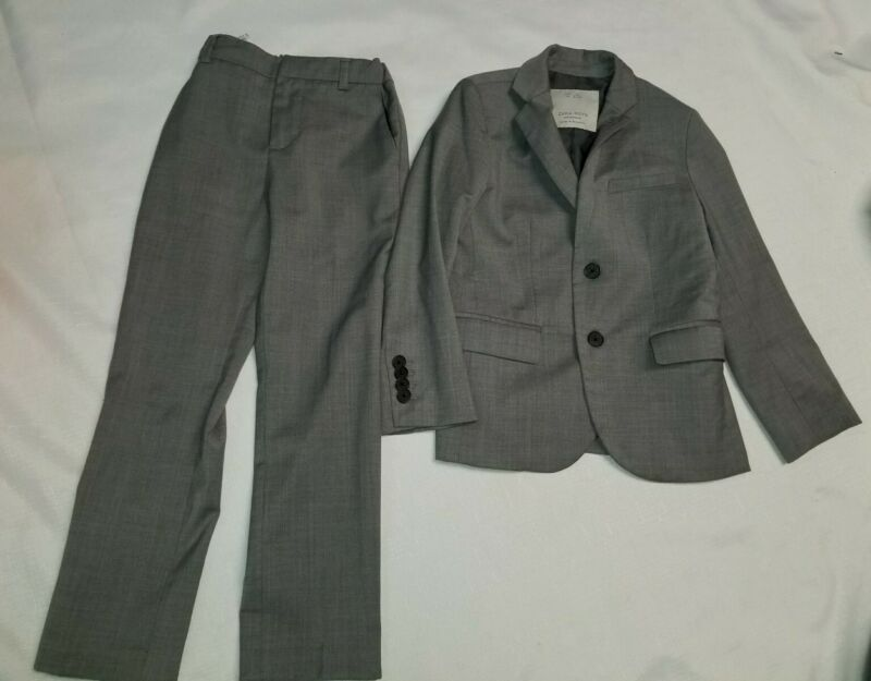 Zara Boys  Size 6 Years Extra Fine Wool Blazer And Dress Pants Suit Set Gray