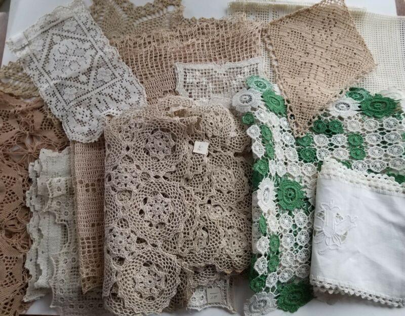 Vintage Huge Lot Crochet Lace Doilies Antique Eagle Fleur de lis Flowers Various