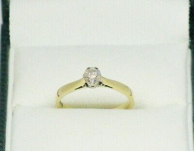 18CT GOLD DIAMOND SOLITAIRE RING 0.18 CT SIZE I 1/2  HALLMARKED