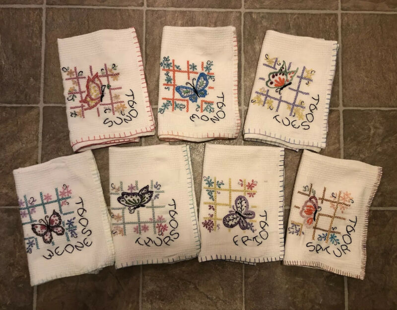 Vintage Set 7 DAYS OF THE WEEK Butterfly Hand Embroidered Dish Towels Cotton