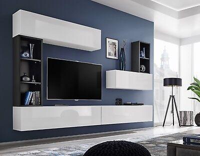 Boise I - black & white tv wall unit for tv / entertainment tv