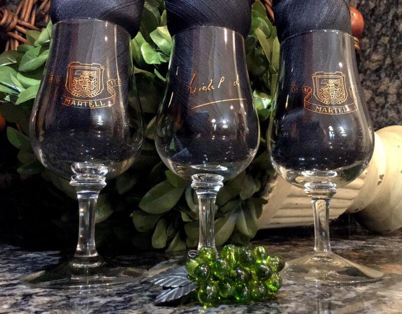 Vintage MARTELL Cognac Gold Foil Signature Crest Tulip Snifters (3) PRISTINE!