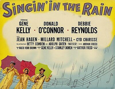 SINGING' IN THE RAIN (1952) Glossy title lobby card quintessential MGM musical
