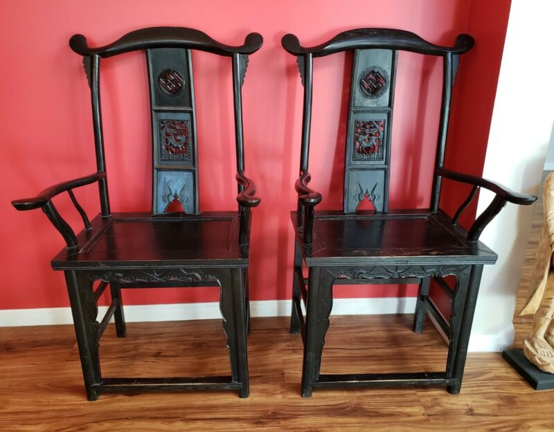 Beautiful Pair Solid Highback Antique Chinese Chairs