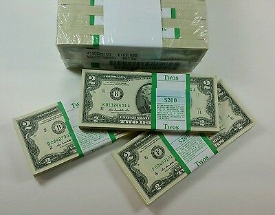 50 Uncirculated   2 Notes 2003A 2013 Two Dollar Bills Random Districts