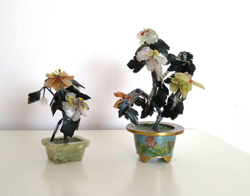 2 x Jade Flower Pot Plant Trees Cloisonne Base