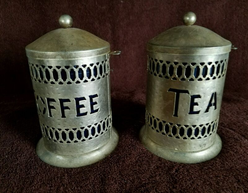 COFFEE & TEA, METAL/WITH COBALT BLUE PLASTIC INSERTS.;CANISTERS
