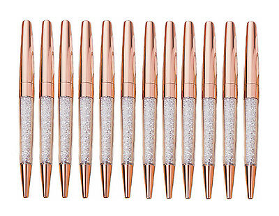 12 pcs/Lot New Luxury Bling Metal Rose Gold Diamond Crystal Pen Ballpoint pens