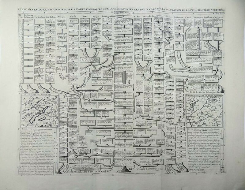Carte Genealogique Switzerland Neuchatel with maps 1719