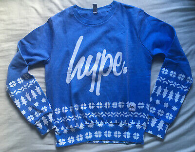 Hype Blue White Pattern Jumper Pullover Sweater Sweatshirt UK 8 Christmas