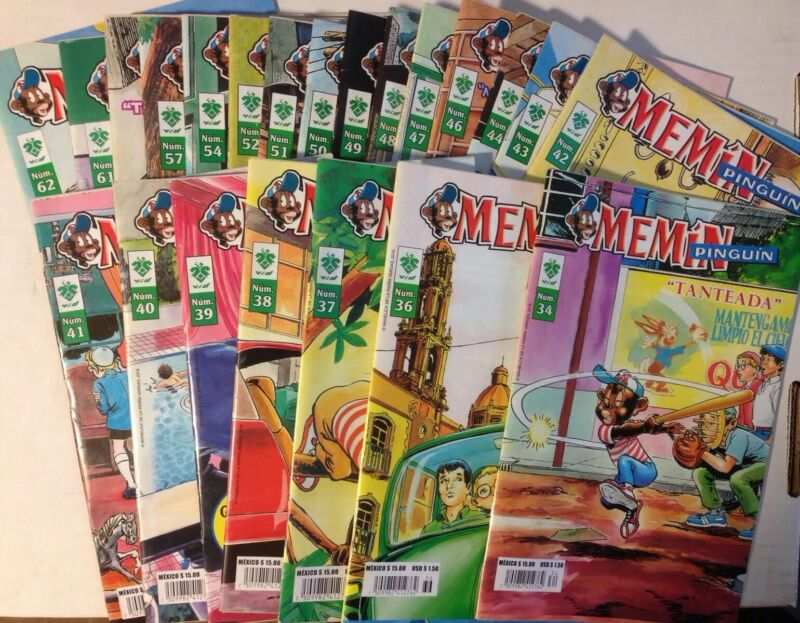 Memin Pinguin Mexican Comic Book In Color Soanish, Lot Of 24, (2018)