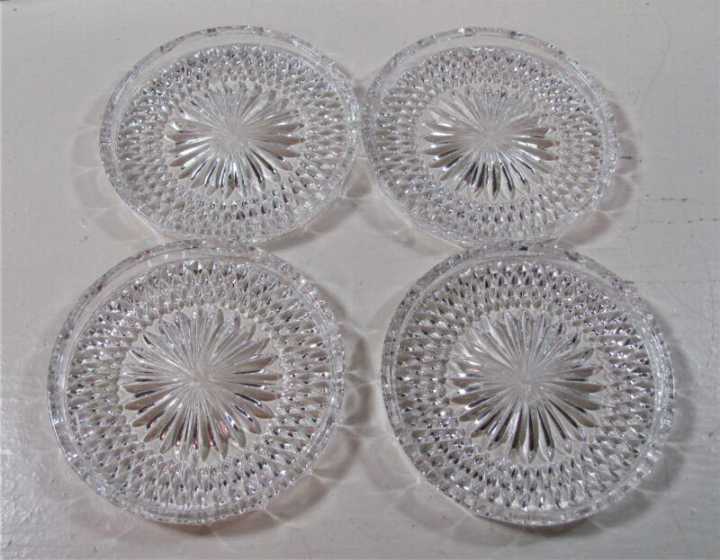 Vintage Clear Cut Glass Coasters 4 Piece Set