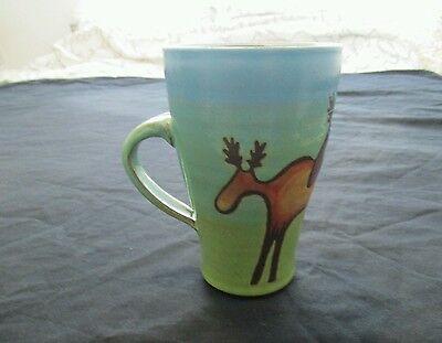 Art Pottery Hand Painted Moose Coffee Mug, Signed