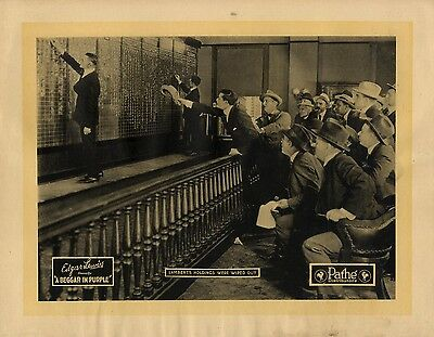 (BEGGAR IN PURPLE, A (1920) Lobby card depicting early stock exchange imagery NF)
