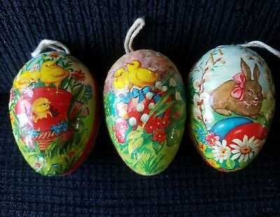 "3 Vintage 3"" Paper Mache Eggs Made in Western Germany"