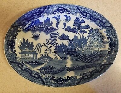 Blue Willow Oval Platter (Vintage Blue Willow Oval Platter 9