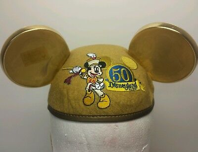 Disneyland Reaort 50th Anniversary Gold Mickey Mouse Ears Size Infant
