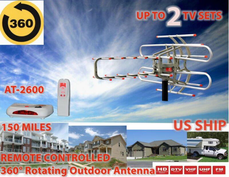 HDTV 1080P Outdoor Amplified Antenna Digital HD TV 180 Mile 360 Rotor